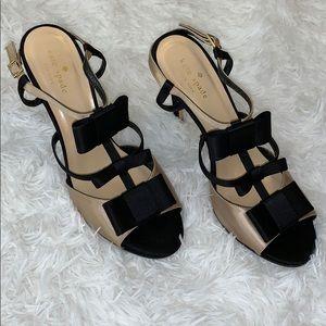 Kate Spade Black & Champagne Satin Bow Heels 9.5